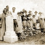 Mary Katherine Peeler Moss is leaning on his tomb stone and his son William Walker Moss, named after his civil War commander, William H.T. Walker is standing beside her. Also the little girl in the dark hat is my mother Marion Francis Moss who was born in 1920.