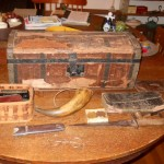 Travel Case belonging to Andrew Jackson Moss and Civil War Items